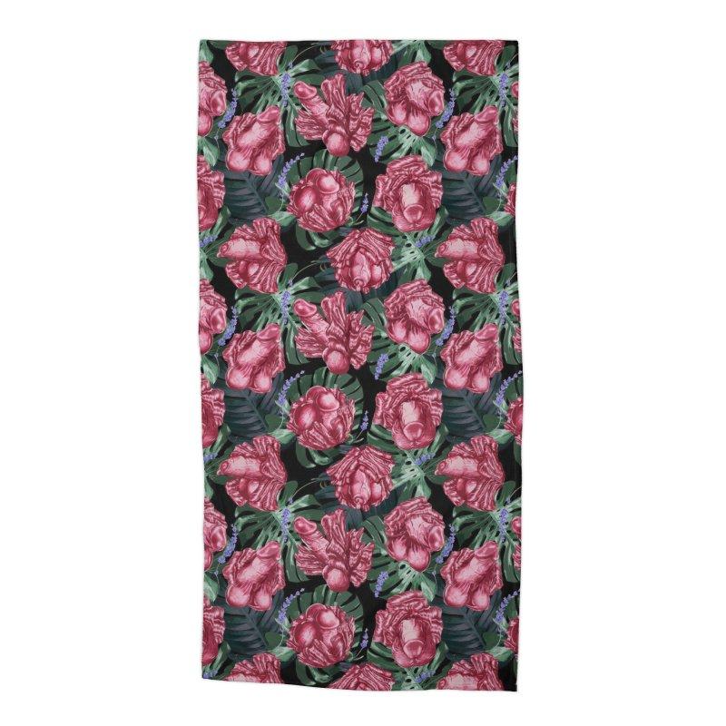 Adam's Eden - Penis flower pattern Accessories Beach Towel by Saṃsāra LSD