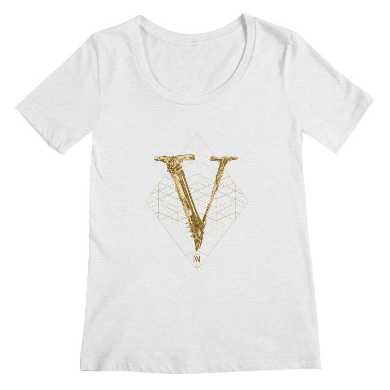 V for Victory Women's Regular Scoop Neck by Saṃsāra LSD