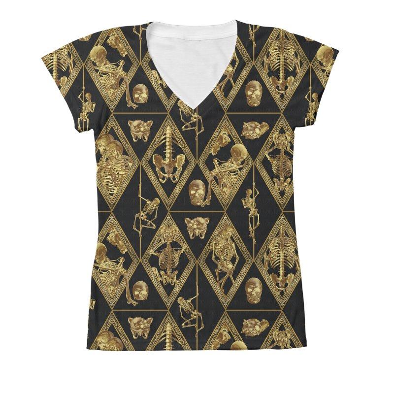 Rheingold Rhombus Women's V-Neck All Over Print by Saṃsāra LSD