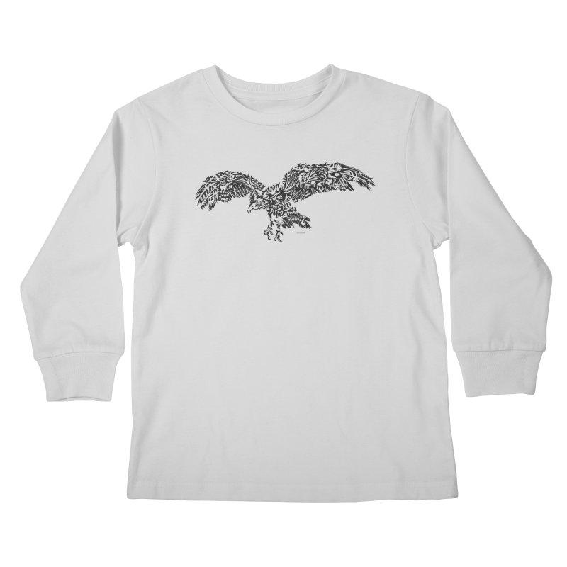 Turkey Vulture BW Kids Longsleeve T-Shirt by Sarah K Waite Illustration