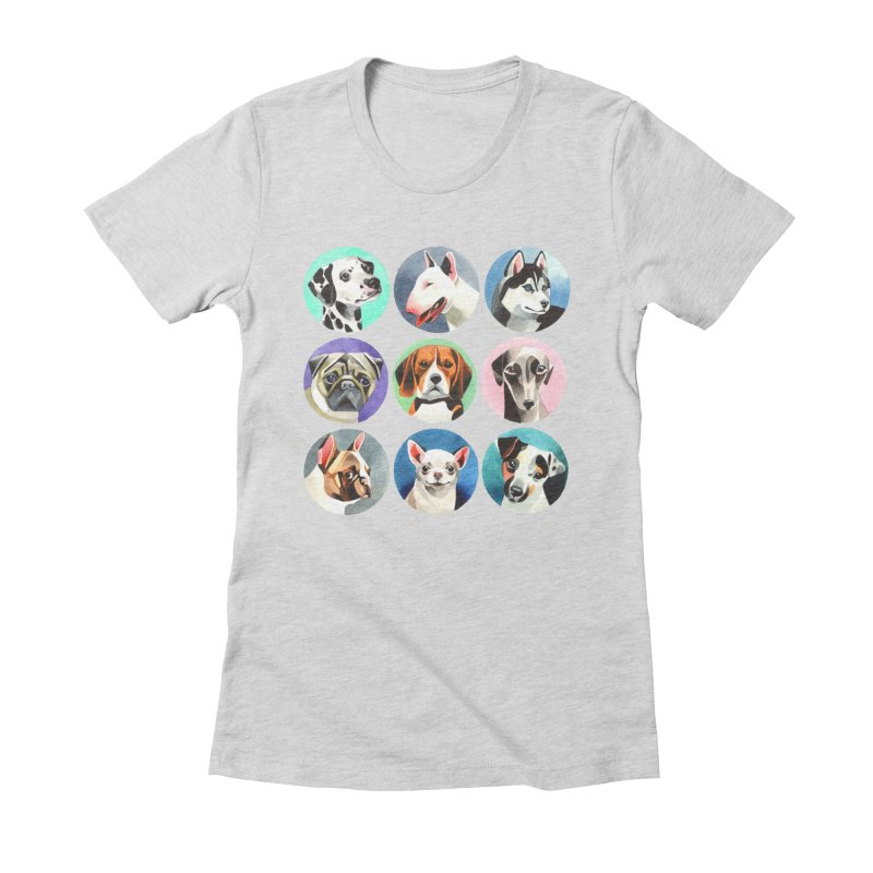 Dogs Women's Fitted T-Shirt by Sashaunisex's Shop