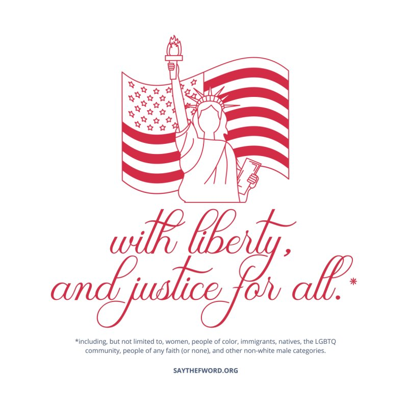 With Liberty, And Justice For All. Men's T-Shirt by Say The F Word