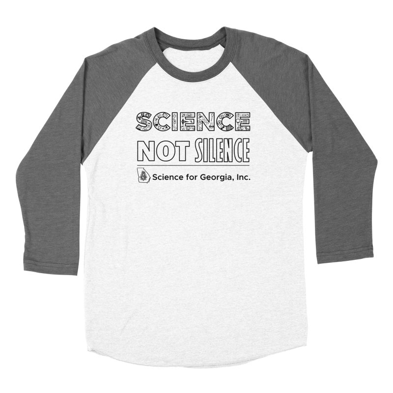 Science Not Silence (black line) Men's Baseball Triblend Longsleeve T-Shirt by Science for Georgia's Shop
