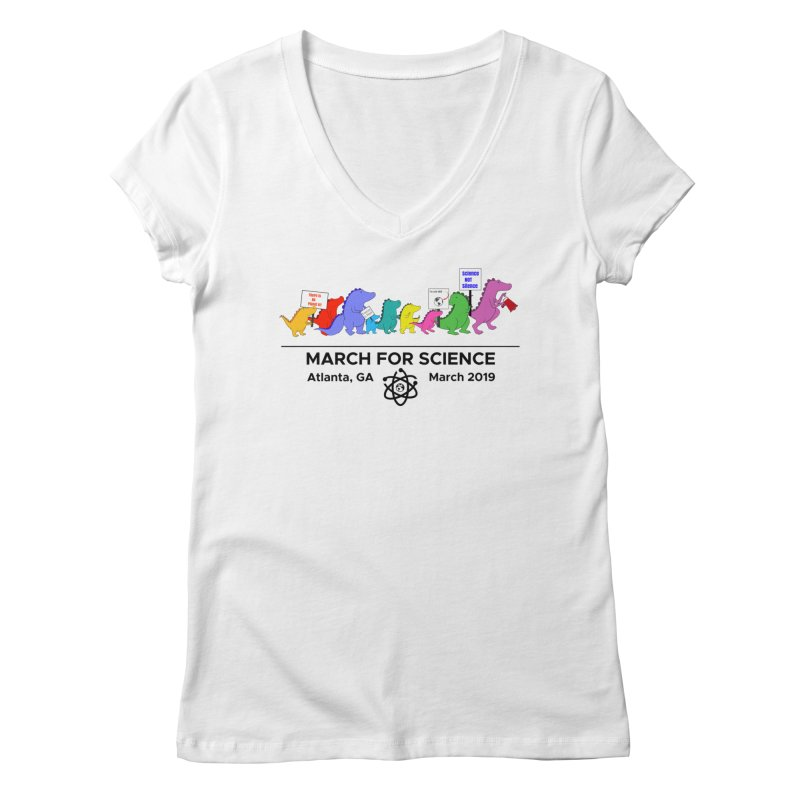 March of the Dinosaurs Women's Regular V-Neck by Science for Georgia's Shop