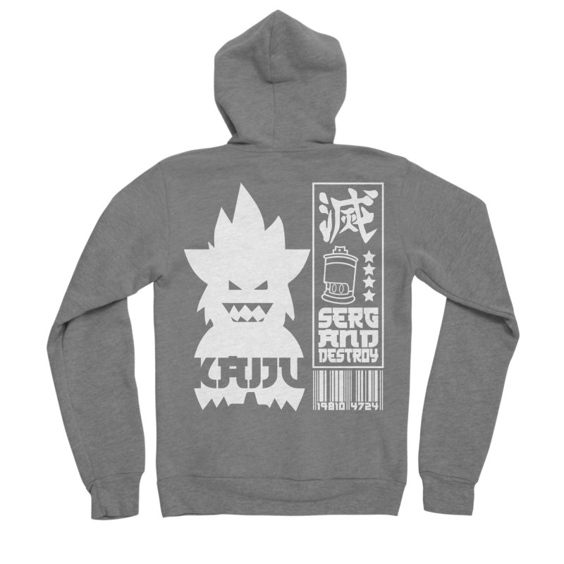 KAIJU CODED (white) Women's Sponge Fleece Zip-Up Hoody by SergAndDestroy's Artist Shop