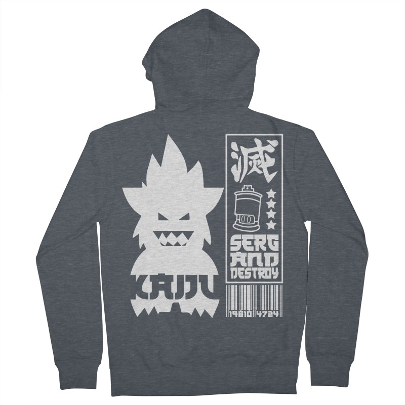 KAIJU CODED (white) Women's French Terry Zip-Up Hoody by SergAndDestroy's Artist Shop