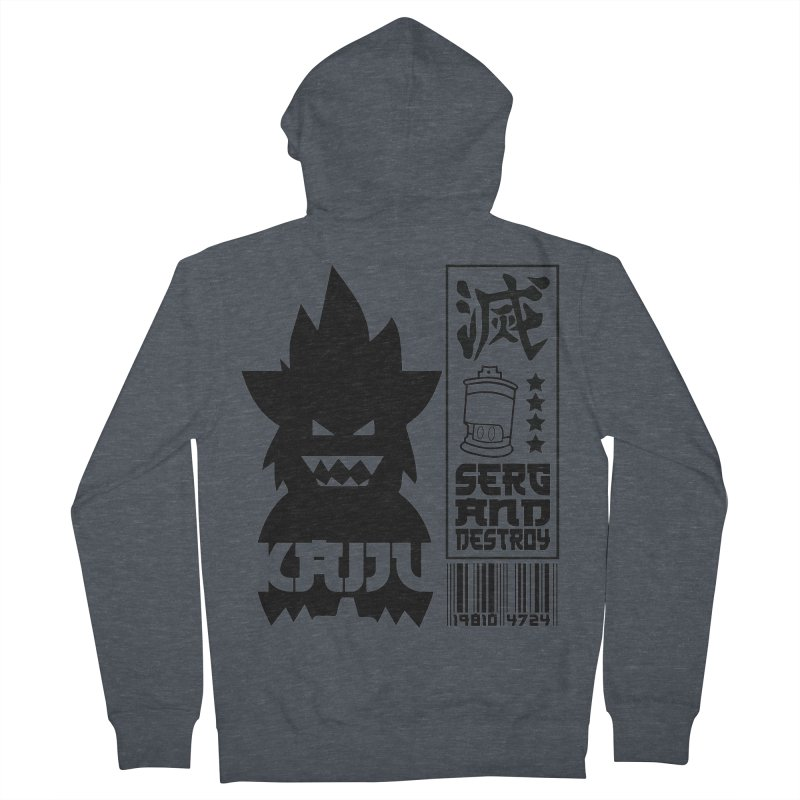 KAIJU CODED (black) Men's French Terry Zip-Up Hoody by SergAndDestroy's Artist Shop