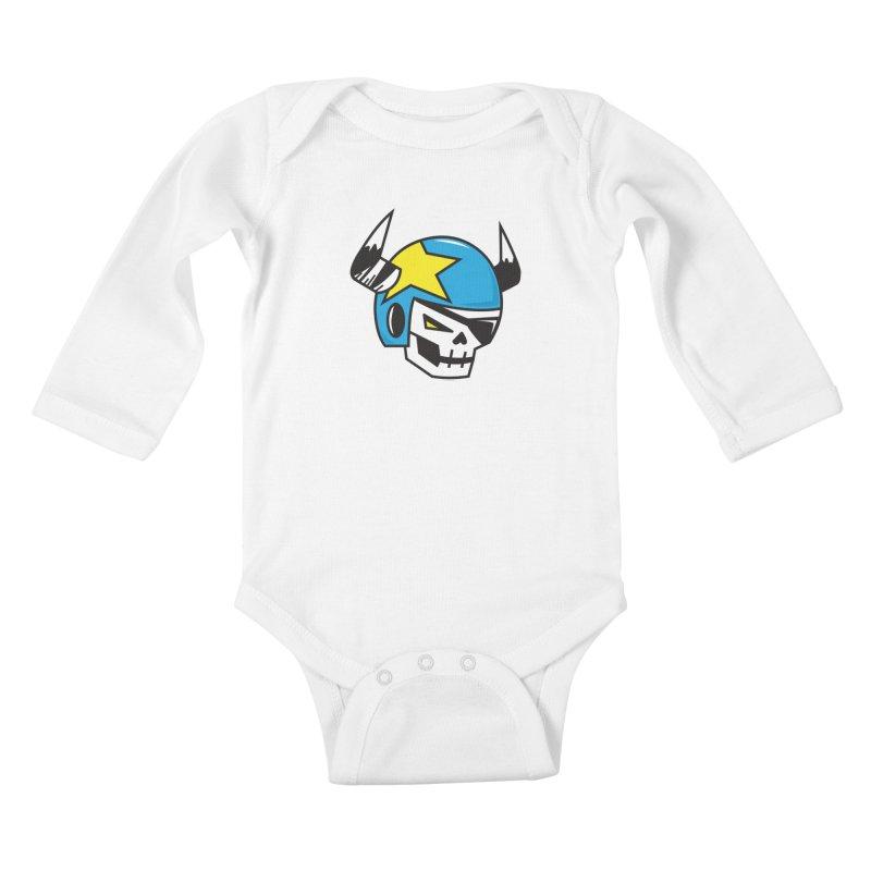 STUNT SKULL (CLASSIC) Kids Baby Longsleeve Bodysuit by SergAndDestroy's Artist Shop