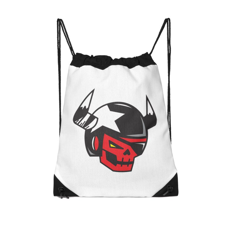 StuntSkull (Red Skull Edition) Accessories Drawstring Bag Bag by SergAndDestroy's Artist Shop