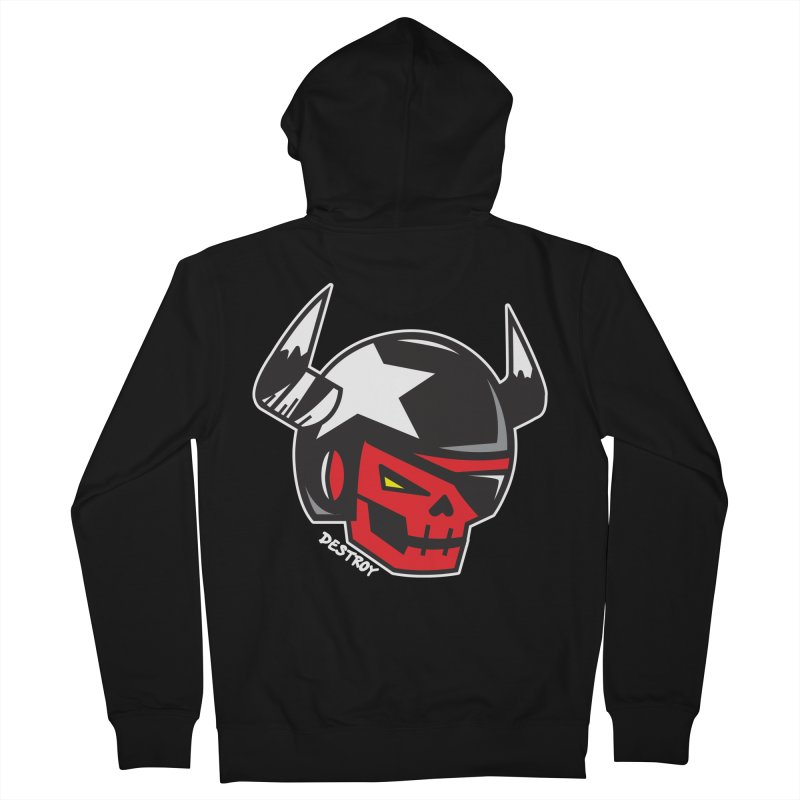 StuntSkull (Red Skull Edition) Men's French Terry Zip-Up Hoody by SergAndDestroy's Artist Shop