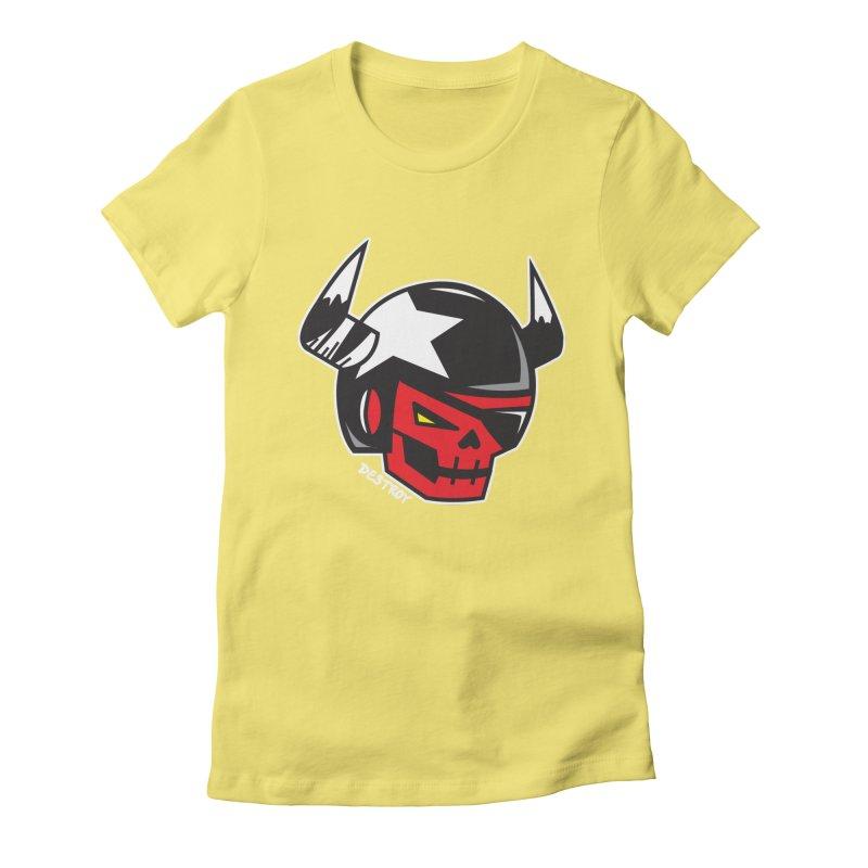 StuntSkull (Red Skull Edition) Women's Fitted T-Shirt by SergAndDestroy's Artist Shop