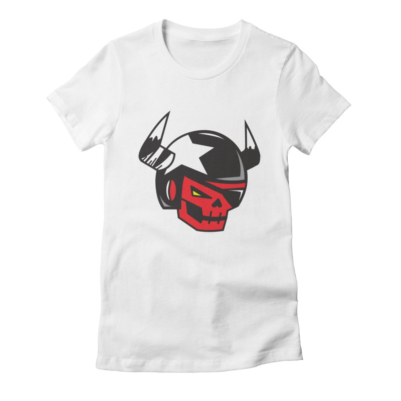 StuntSkull (Red Skull Edition) Women's Fitted T-Shirt by SergAndDestroy's Artist Shop