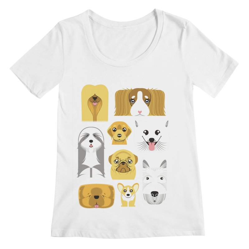 Puppies Women's Scoopneck by Seth Banner's Artist Shop