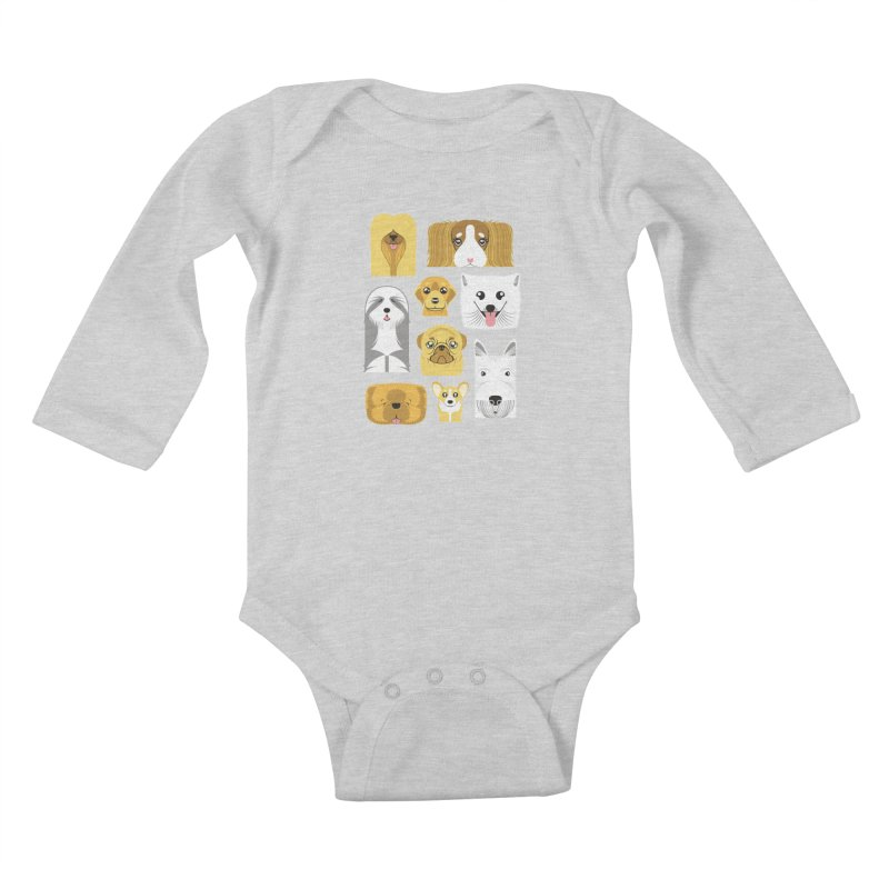 Puppies Kids Baby Longsleeve Bodysuit by Seth Banner's Artist Shop