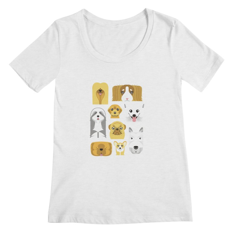 Puppies Women's Scoopneck by Seth Banner's Artist Shop