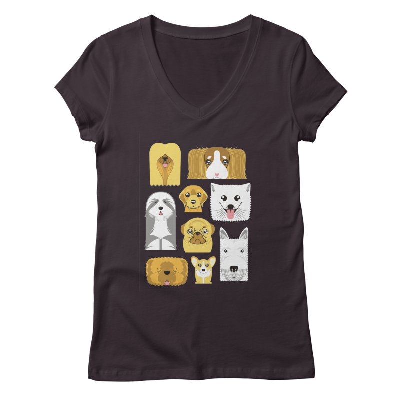 Puppies Women's V-Neck by Seth Banner's Artist Shop
