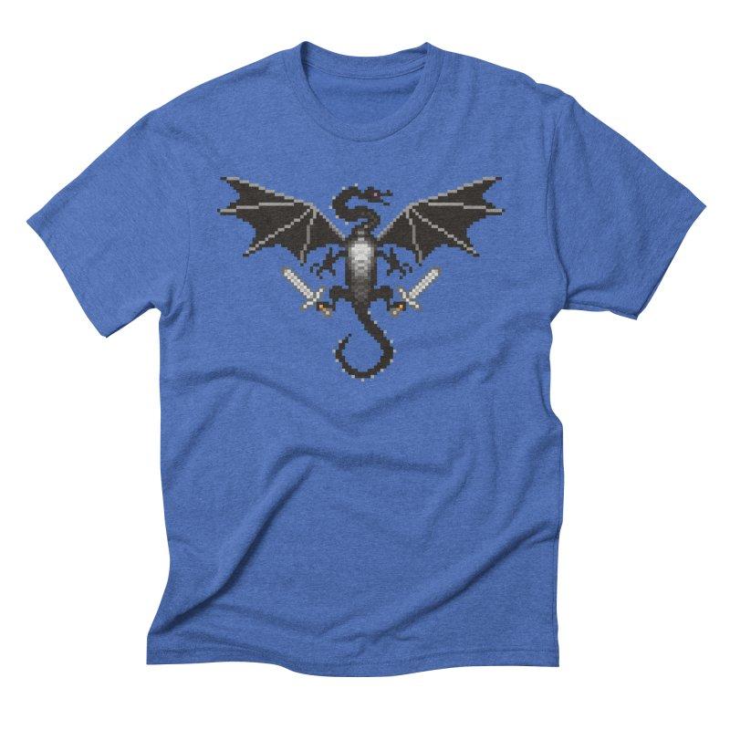 Ender Dragon in Men's Triblend T-shirt Blue Triblend by Seth Banner's Artist Shop