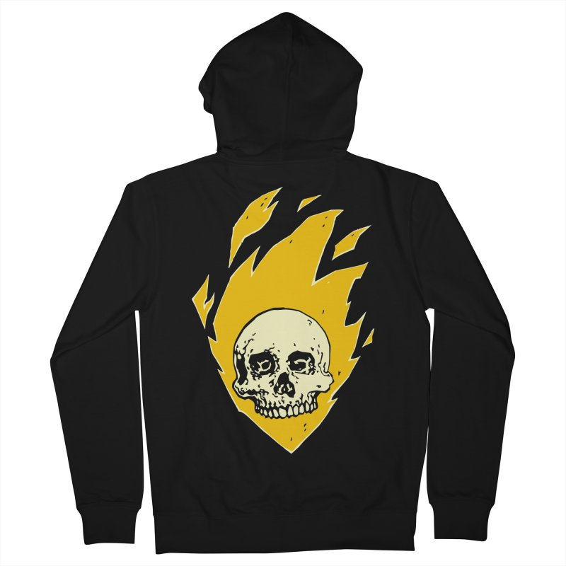 Flaming skull Men's Zip-Up Hoody by Seth Banner's Artist Shop