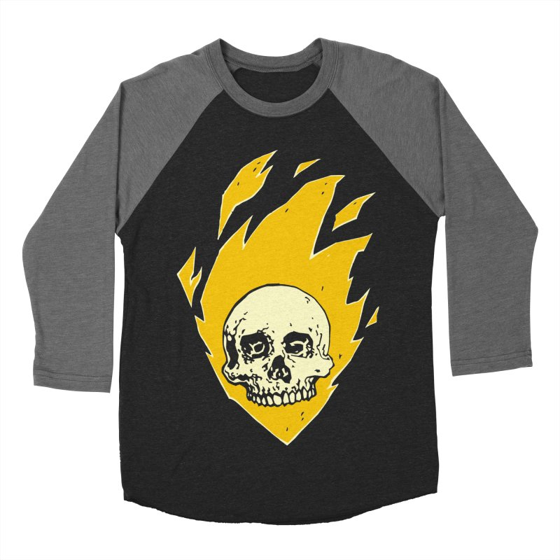 Flaming skull Men's Baseball Triblend T-Shirt by Seth Banner's Artist Shop