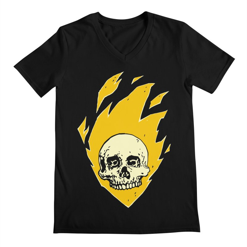 Flaming skull Men's V-Neck by Seth Banner's Artist Shop