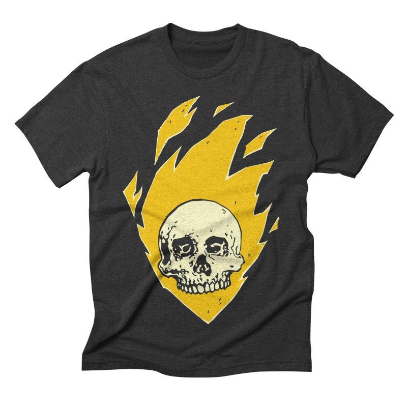 Flaming skull Men's Triblend T-shirt by Seth Banner's Artist Shop