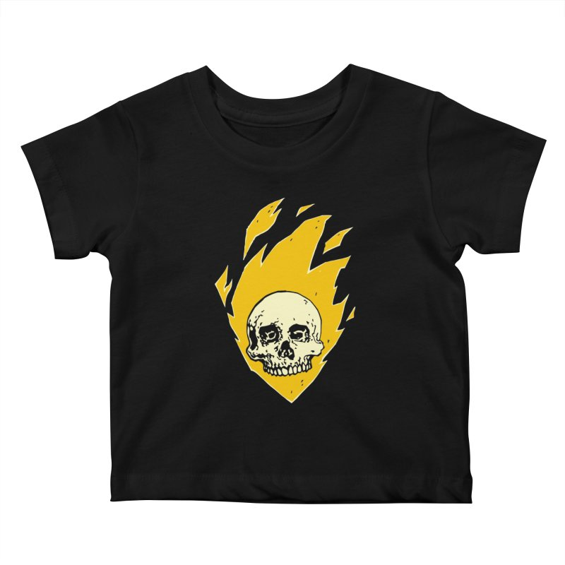 Flaming skull Kids Baby T-Shirt by Seth Banner's Artist Shop