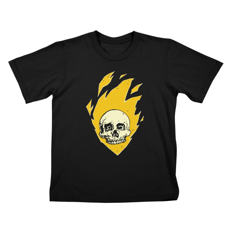 Flaming skull Kids T-Shirt by Seth Banner's Artist Shop