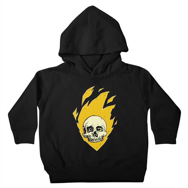 Flaming skull Kids Toddler Pullover Hoody by Seth Banner's Artist Shop