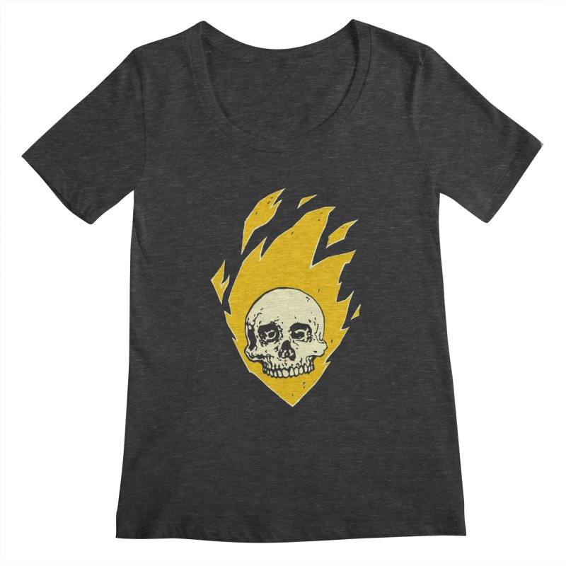 Flaming skull Women's Scoopneck by Seth Banner's Artist Shop