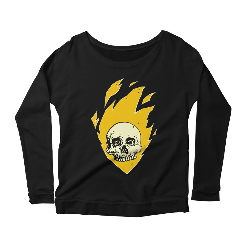 Flaming skull Women's Longsleeve Scoopneck  by Seth Banner's Artist Shop