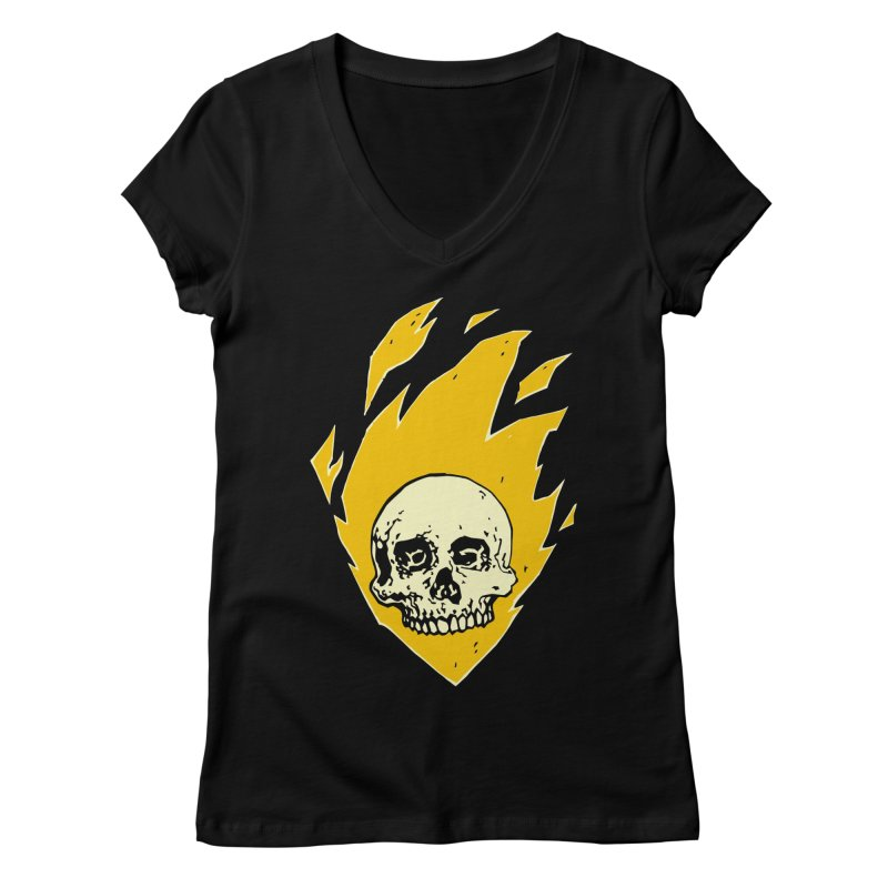 Flaming skull Women's V-Neck by Seth Banner's Artist Shop