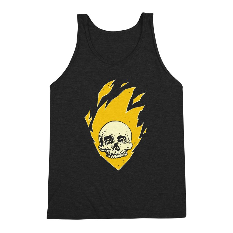 Flaming skull Men's Triblend Tank by Seth Banner's Artist Shop