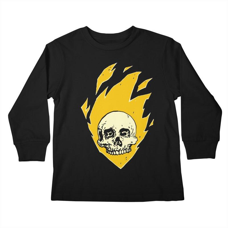 Flaming skull Kids Longsleeve T-Shirt by Seth Banner's Artist Shop