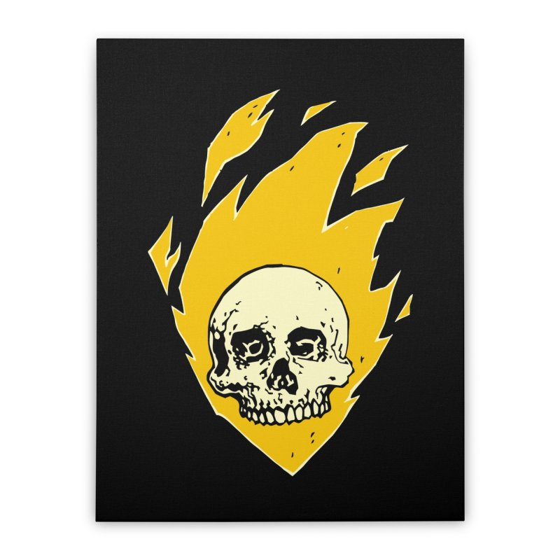 Flaming skull Home Stretched Canvas by Seth Banner's Artist Shop