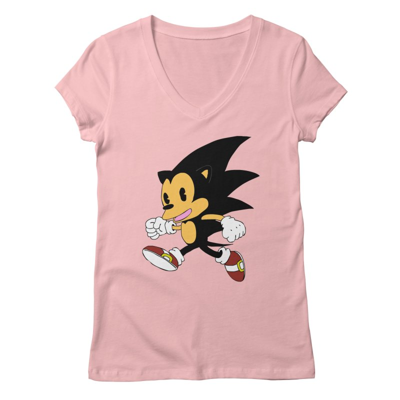 Vintage the Hedgehog Women's V-Neck by Shadeprint's Artist Shop