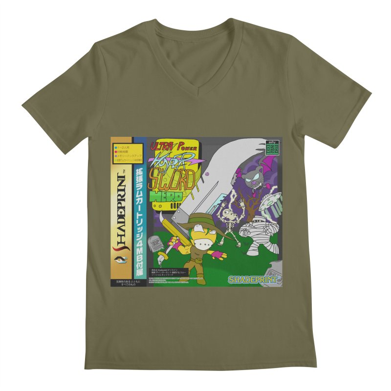 Super Power Hyper Sword Hero [CD Case insert] Men's V-Neck by Shadeprint's Artist Shop