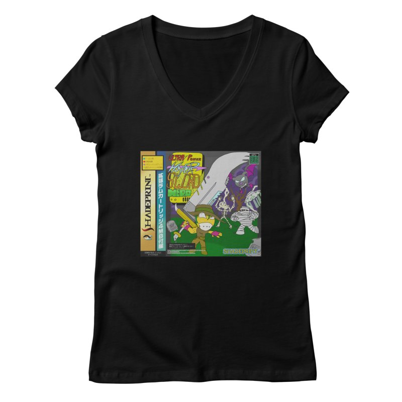 Super Power Hyper Sword Hero [CD Case insert] Women's V-Neck by Shadeprint's Artist Shop