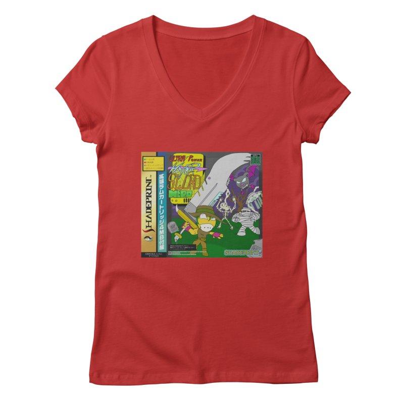 Super Power Hyper Sword Hero [CD Case insert] Women's V-Neck by Shadeprint's Artist Shop