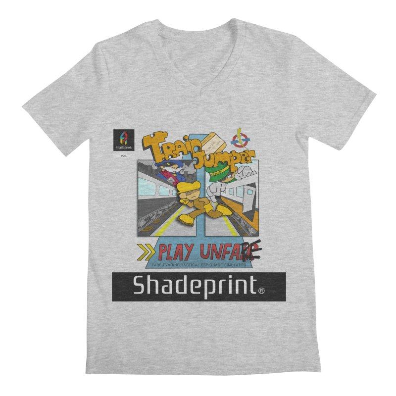 Train Jumper. (Jewel Case Sleeve) [FRONT]. Men's V-Neck by Shadeprint's Artist Shop
