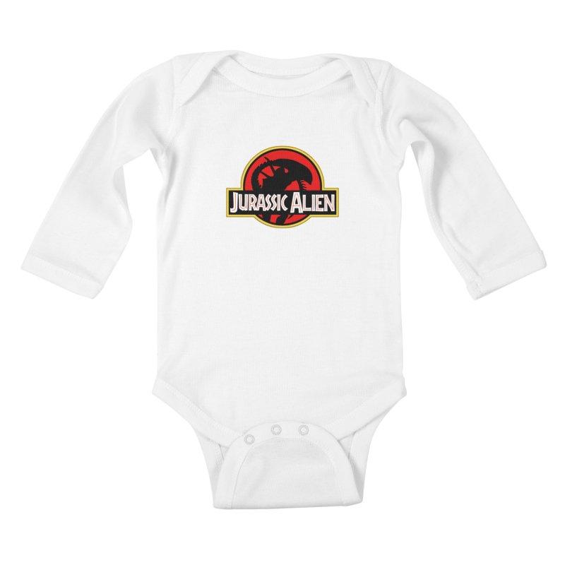 Jurassic Alien Kids Baby Longsleeve Bodysuit by Shappie's Glorious Design Shop