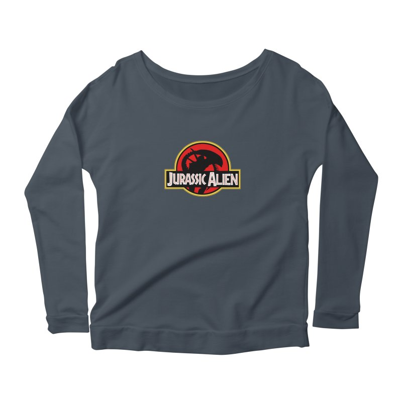 Jurassic Alien Women's Longsleeve Scoopneck  by Shappie's Glorious Design Shop