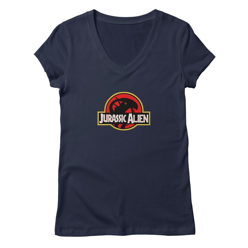Jurassic Alien Women's V-Neck by Shappie's Glorious Design Shop