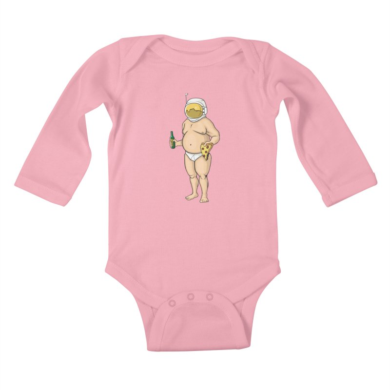 Space, Beer, and Pizza Kids Baby Longsleeve Bodysuit by Sheepdogdesign's Artist Shop