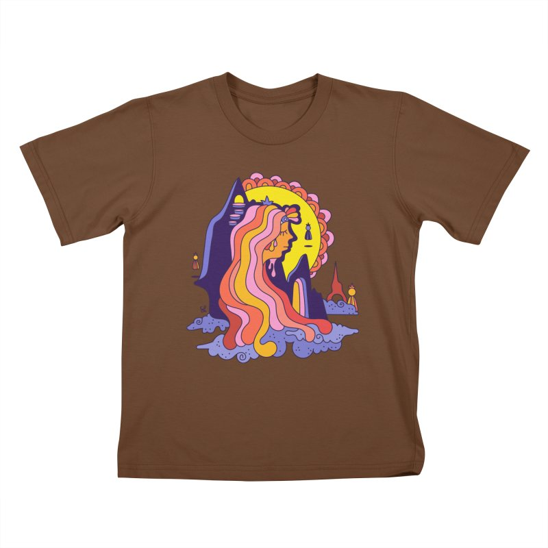 Girl in the Mountain Kids T-Shirt by Shelby Works