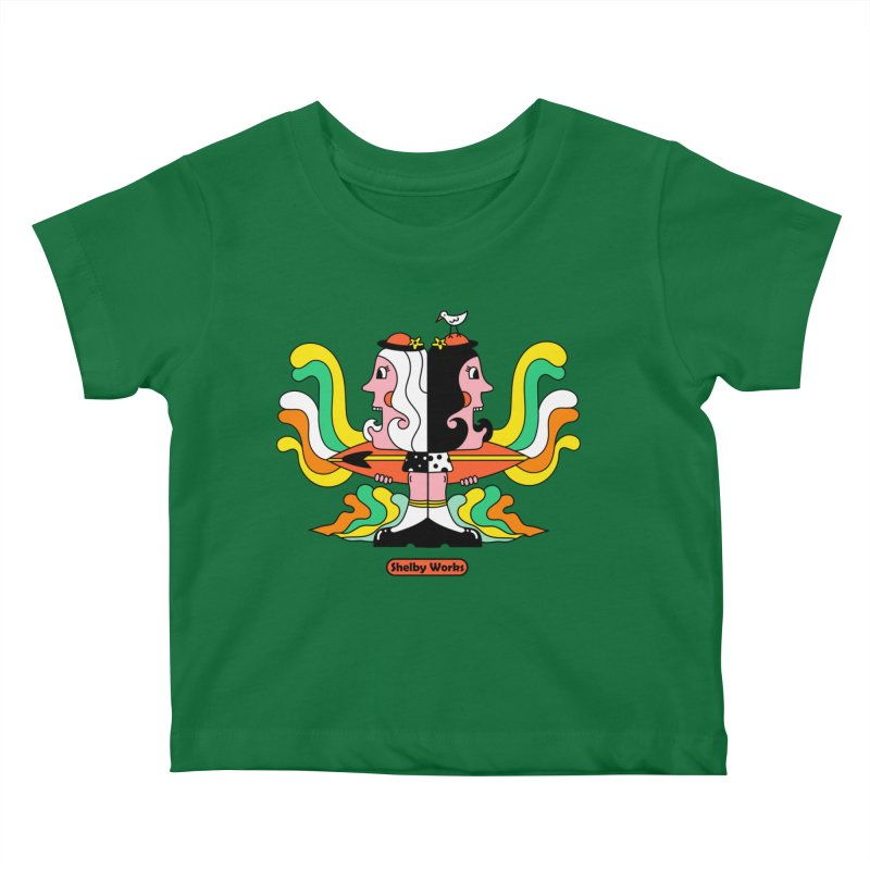 Molly & Dora Go Surfing Kids Baby T-Shirt by Shelby Works