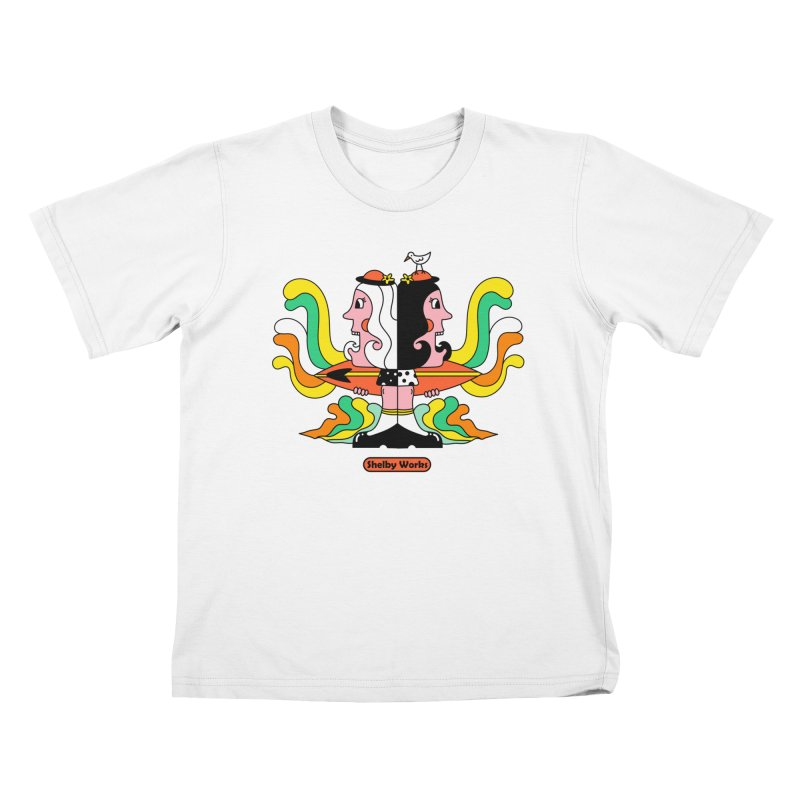 Molly & Dora Go Surfing Kids T-Shirt by Shelby Works