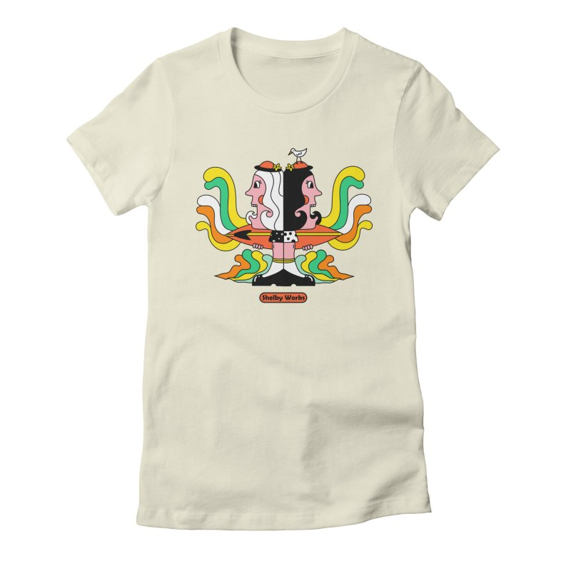 Molly & Dora Go Surfing Women's Fitted T-Shirt by Shelby Works