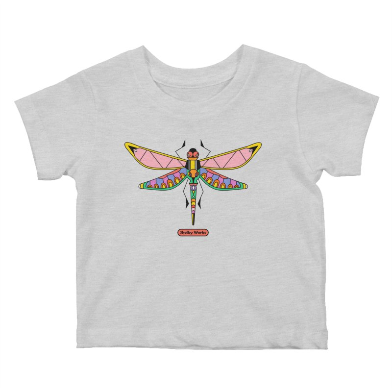 Kaleidoscope Fly Kids Baby T-Shirt by Shelby Works