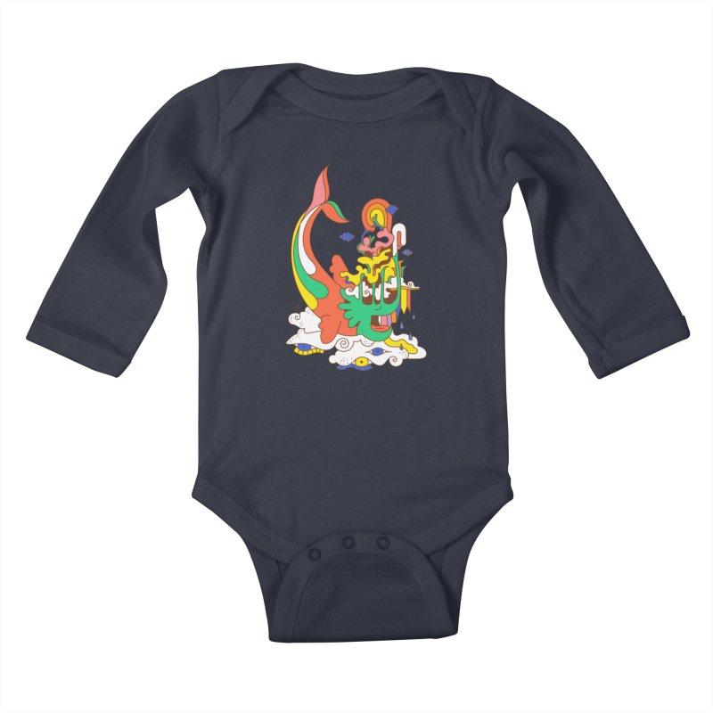 Sleeping Sea Rhino Kids Baby Longsleeve Bodysuit by Shelby Works