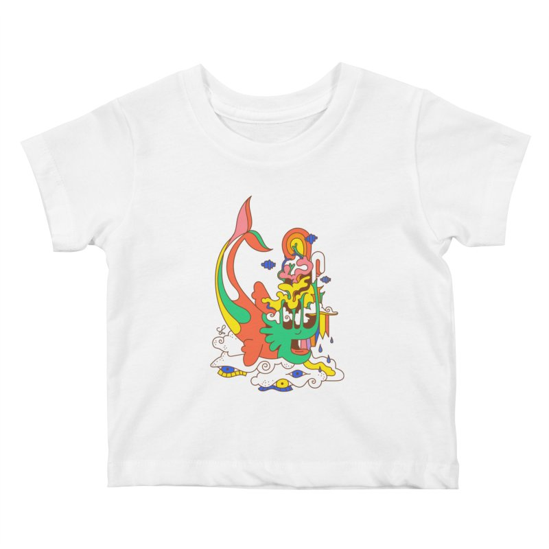 Sleeping Sea Rhino Kids Baby T-Shirt by Shelby Works